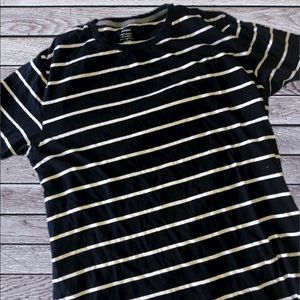 OLD NAVY Navy blue and white striped shirt L